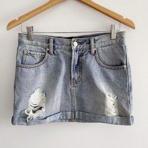 Minkpink Women's Size XS Denim Skirt Cuffed Hem